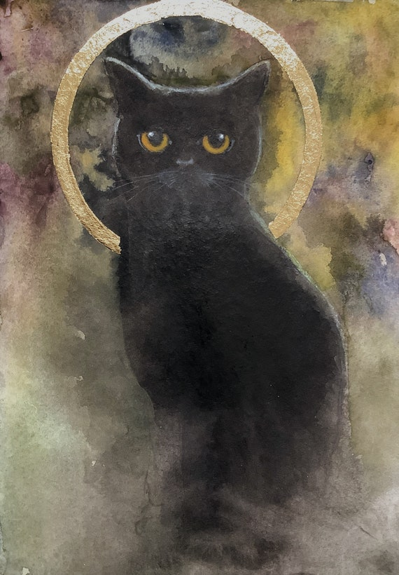 Dark cat, Black cat with yellow eyes, Watercolor and acrylic painting with gold leaf on paper by Eva Fialka.