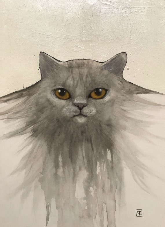 Silver Cat painting and original drawing on paper by Eva Fialka