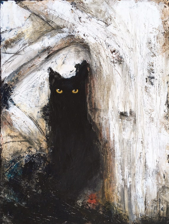 Black cat on tree. Abstract painting on canvas by Eva Fialka.