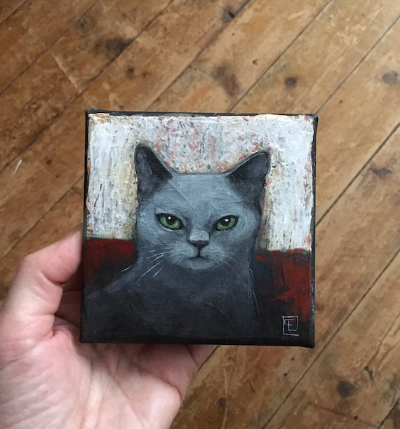 Abstract cat #10, miniature original painting by Eva Fialka