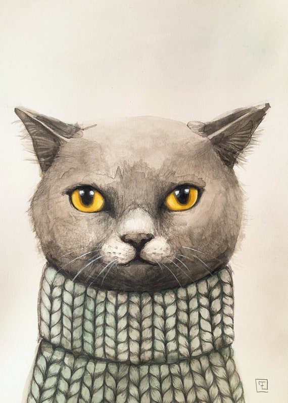 Cat in sweater, painting and original drawing on paper by Eva Fialka