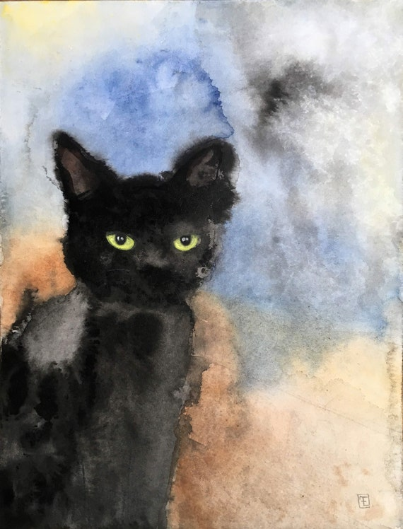 ABSTRACT CAT , watercolor and Chinese ink on paper, original painting, cat portrait by Eva Fialka.