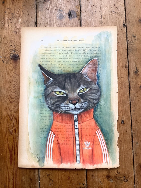 Homeboy cat, portrait of cat in tracksuit, watercolor and acrylic by Eva Fialka