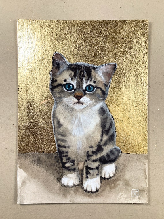Tabby kitten, portrait of small tabby kitten. Watercolor and acrylic painting with gold leaf on paper by Eva Fialka.