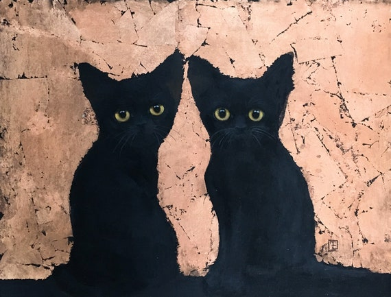 BLACK KITTENS, original abstract painting on paper by Eva Fialka
