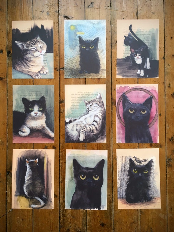 """Collection """"Old Book Pages"""" Lot of 9 reproductions in A5 format, portraits of cats by Eva Fialka."""