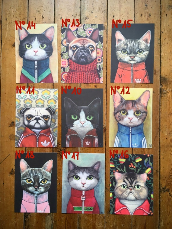"Collection ""PORTRAITS"" Lot of the 3reproductions of choice in A5 format, portraits of eva Fialka's cats."