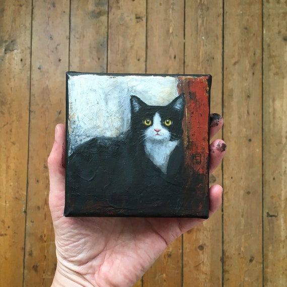 Abstract cat #2, miniature original painting by Eva Fialka