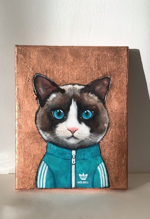 Pooky, portrait of cat in tracksuit, original painting by Eva Fialka
