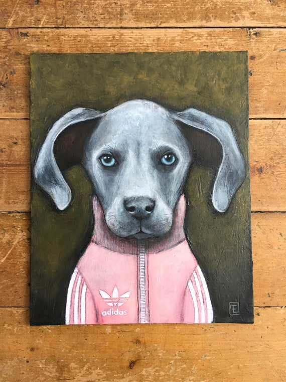 BLUE PUPPY, acrylic paint on cardboard, Eva Fialka