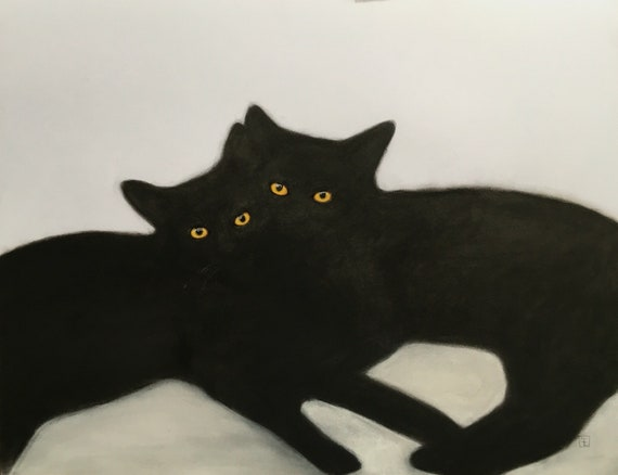 BROTHERS, original drawing, black cats, by Eva Fialka.