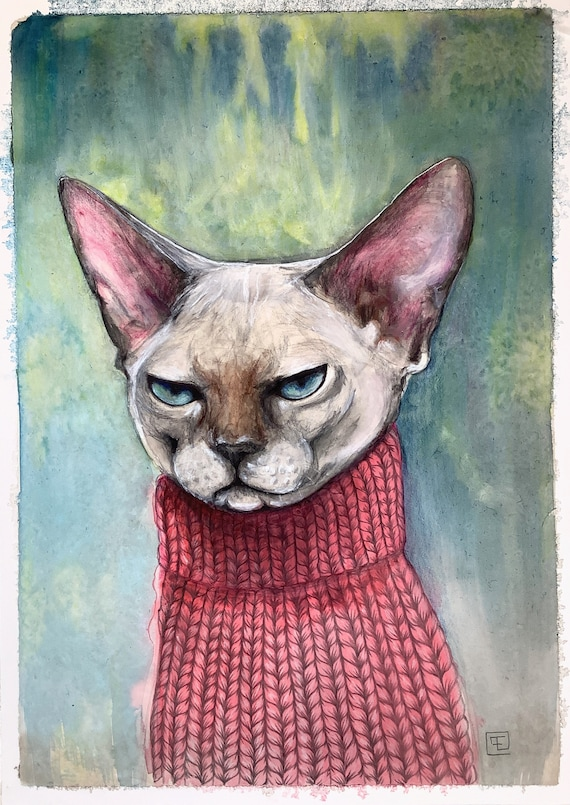 Sphynx cat, original ink painting and colored pencil on mineral paper, Eva Fialka