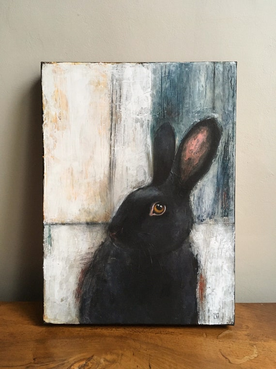 Black Rabbit, Abstract Painting on Canvas by Eva Fialka.