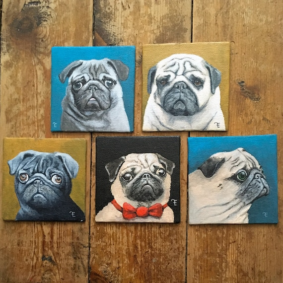Pugs, set of 5 paintings, mini gallery. Not Eva Fialka