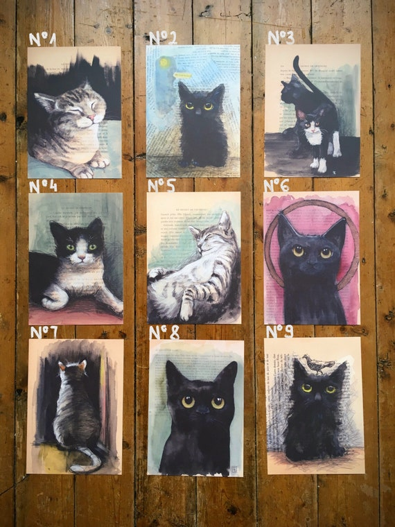 """Collection """"Old Book Pages"""" Lot of the 3reproductions to choose from in A5 format, portraits of cats by Eva Fialka."""