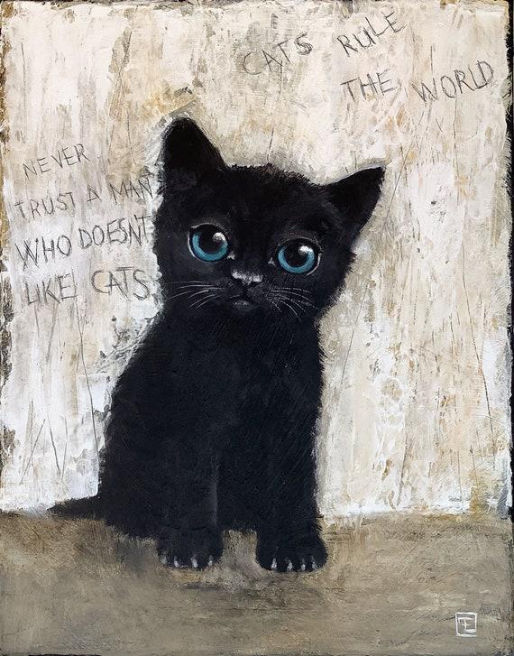 Black kitten, textured acrylic paint on canvas, Eva Fialka