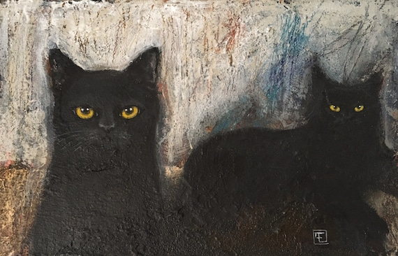 BLACK CATS, original acrylic paint on cardboard, Eva Fialka