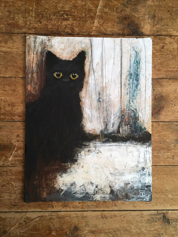 Big eyes, abstract painting on cardboard made by Eva Fialka.