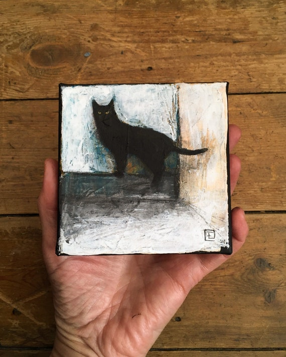 Abstract cat #8, miniature original painting by Eva Fialka
