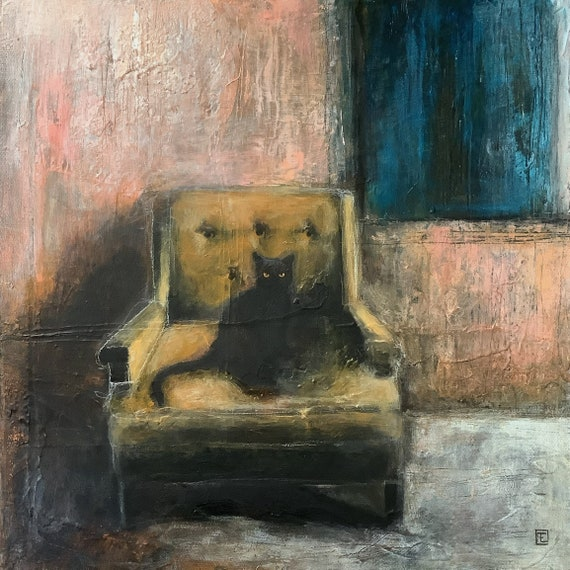 The armchair, original painting on canvas by Eva Fialka