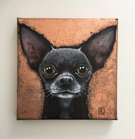 MAX, original painting on canvas, mixed technique, acrylic and gold leaf, by Eva Fialka