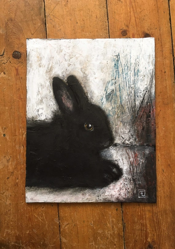 LAPINOU , original acrylic painting on cardboard, Eva Fialka