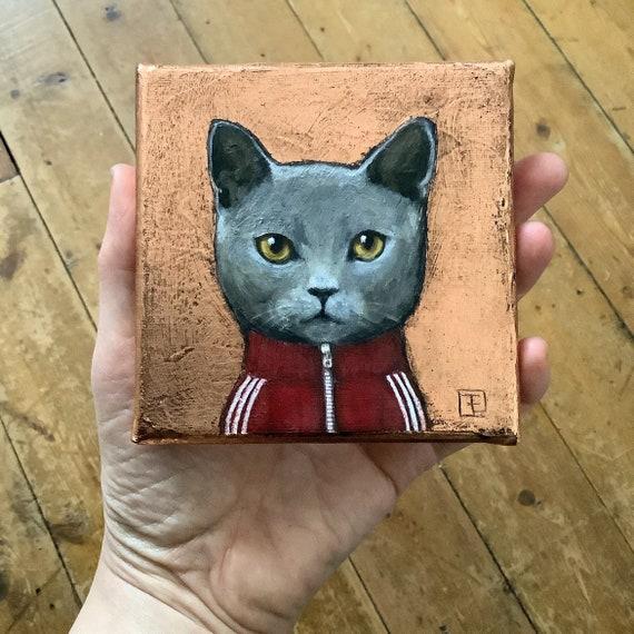 Sam, miniature cat portrait, original painting on canvas by Eva Fialka
