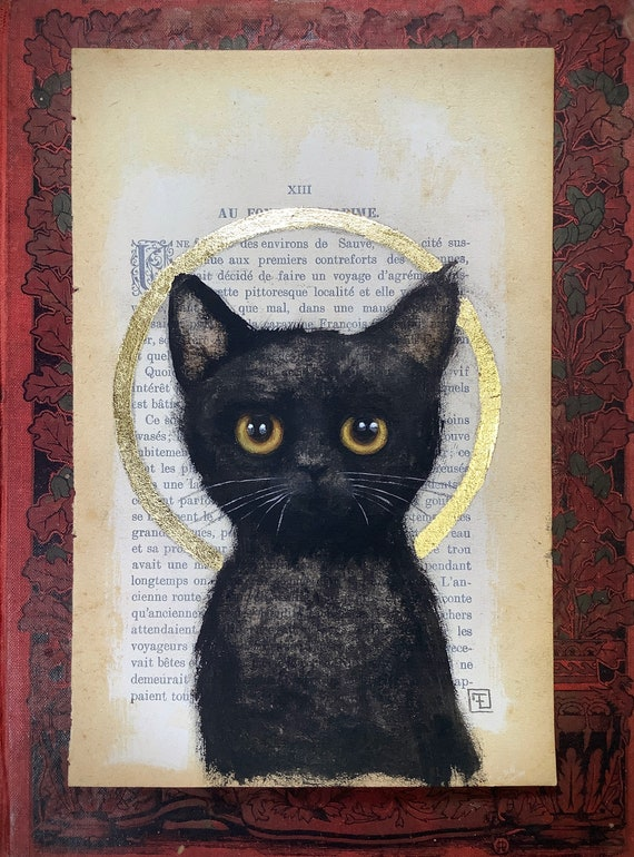Gothic kitten, original painting on old book page with gold leaf by Eva Fialka
