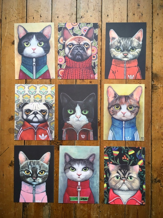 "Collection ""PORTRAITS"" Lot of 9 reproductions in A5 format, portraits of Eva Fialka's cats."