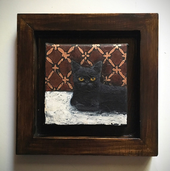 WOODOO, Portrait of black cat, original painting on canvas, mixed technique, acrylic and metal sheets, by Eva