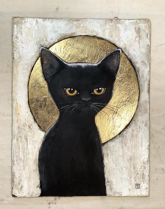 BLACK KITTY, original watercolor painting on cardboard by Eva Fialka