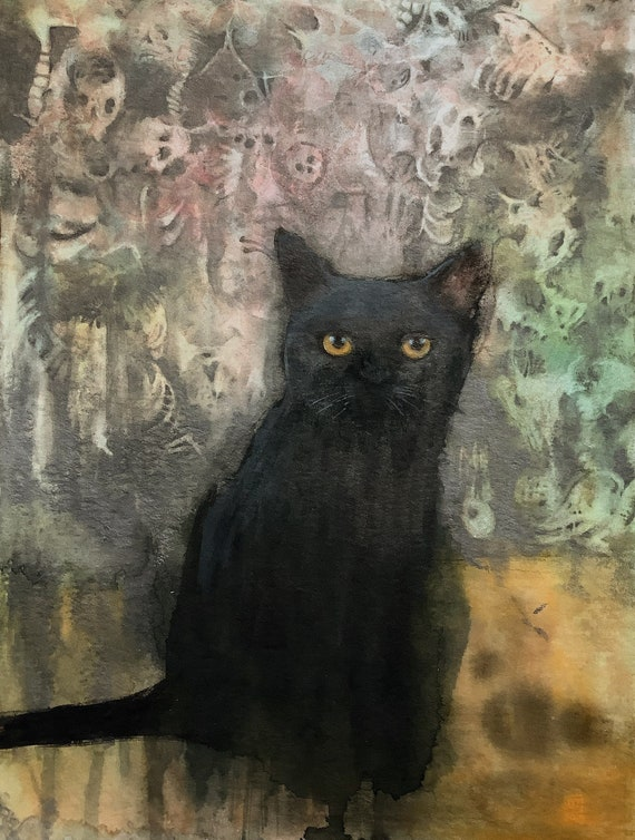 Abstract Black Cat, painting and original drawing on paper by Eva Fialka