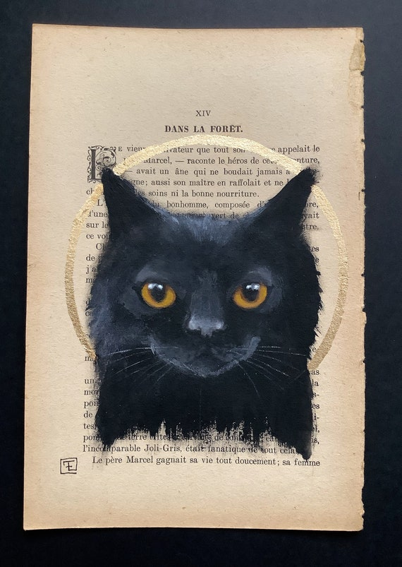 In the forest, original painting on ancient book page, eva Fialka's black cat