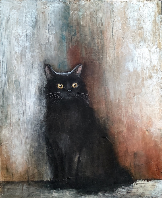 BLACK CAT , original painting, textured acrylic on canvas by Eva Fialka