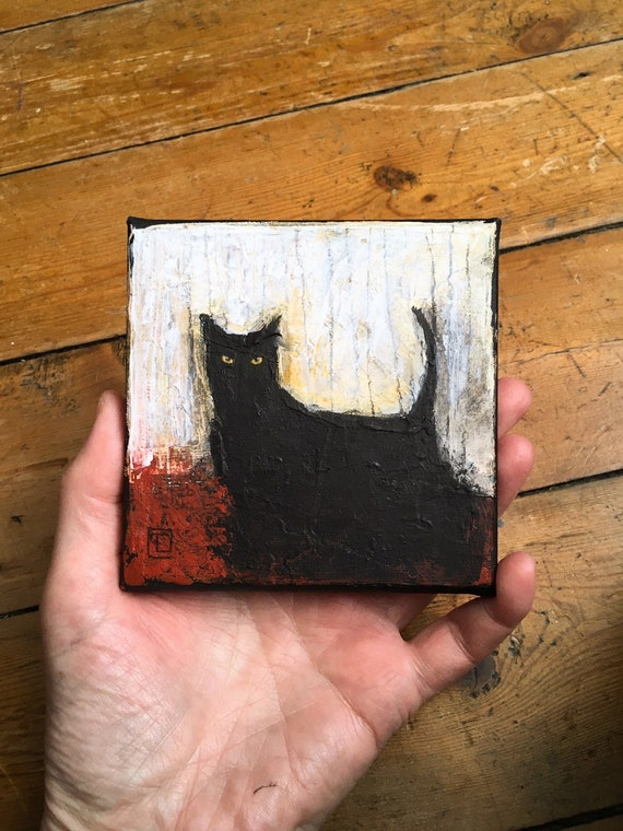 Abstract cat #7, original miniature painting by Eva Fialka