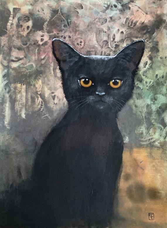 Dark kitty, black kitten, acrylic paint on paper, Eva Fialka
