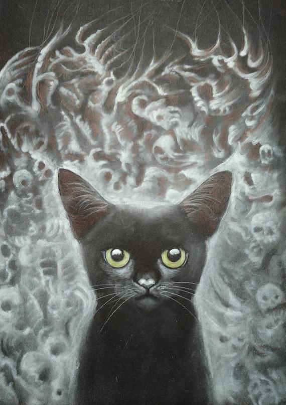 BACKGROUND, original pastel drawing, white on black, Eva Fialka