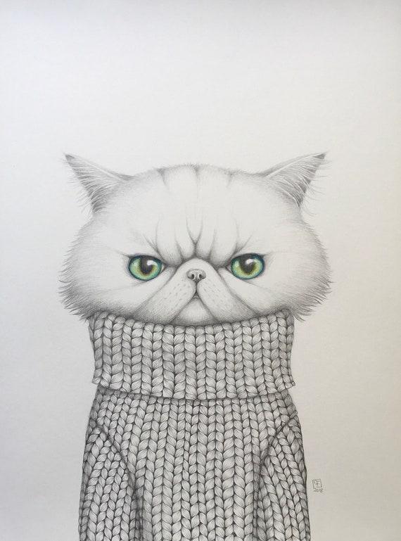 TWIGGY, dessin original, chat exotique , portrait de chat, par Eva Fialka.