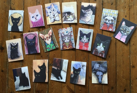 Lot of 6 Matching Cards of Choice with Envelope, Art Reproduction, Painting, Dog and Cat by Eva Fialka