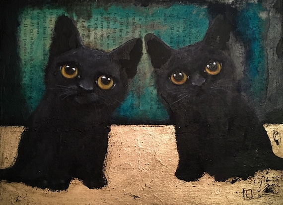 CHATONS original painting on cardboard in the face of Eva Fialka