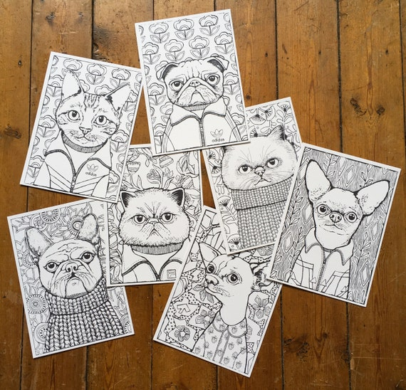 Lot of 7 coloring drawings, watercolor, cat painting and dog by Eva Fialka