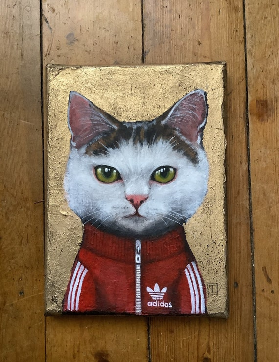 Sam, portrait of cat in tracksuit, original painting by Eva Fialka