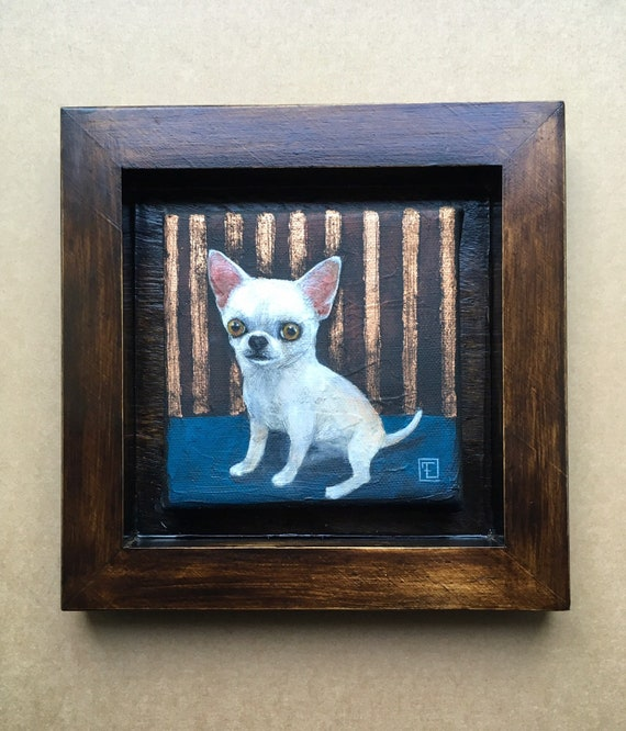 PEPETTE, Chihuahua Portrait, Original Painting on Canvas, Mixed Technique, Acrylic and Metal Leaves, by Eva