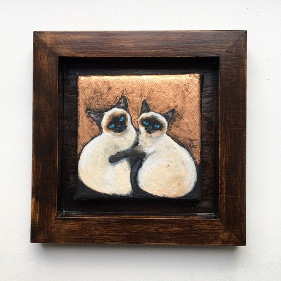 LOVE, Siamese cat couple, original painting on canvas, mixed technique, acrylic and metal sheets, by Eva