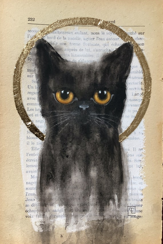 BLACK KITTEN, original painting on old book page with gold leaf by Eva Fialka