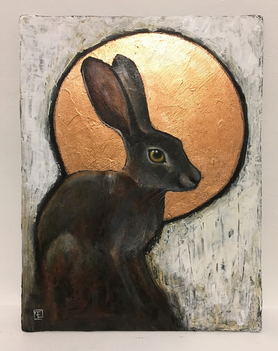 Rabbit , Abstract painting on cardboard inked by Eva Fialka.