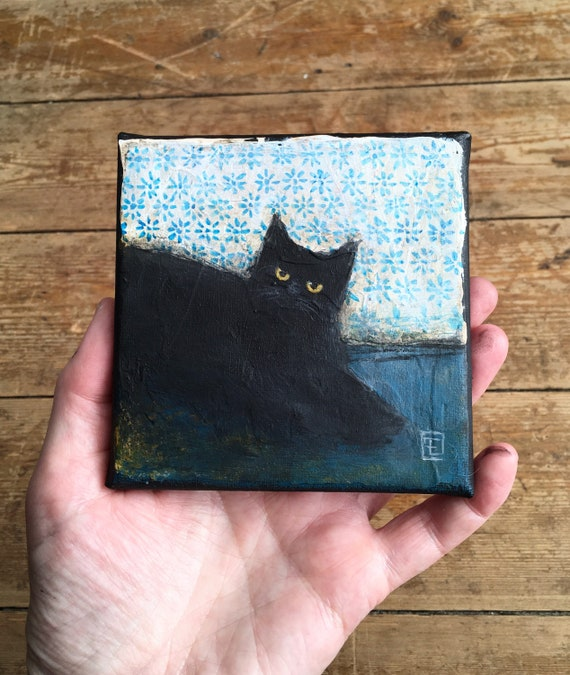 Abstract cat #5, miniature original painting by Eva Fialka