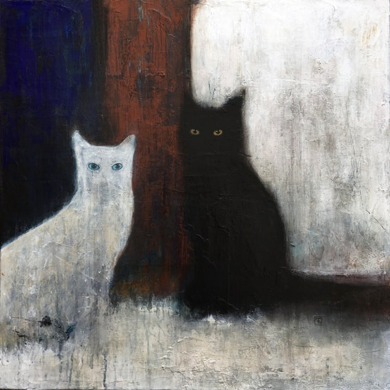 Original abstract cat painting, black cats,acrylic painting