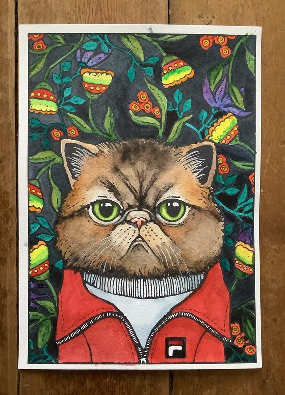 Thomas, portrait of exotic cat in tracksuit, watercolor painting and ink by Eva Fialka