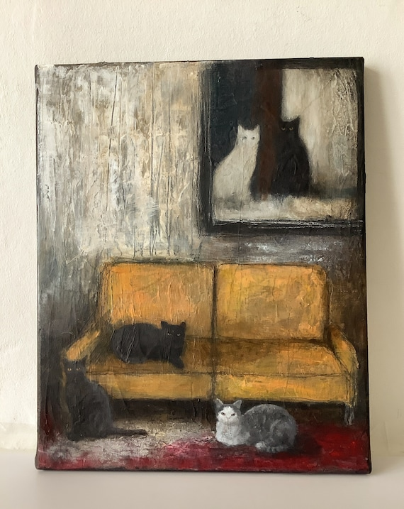 Home, original painting, textured acrylic on canvas by Eva Fialka